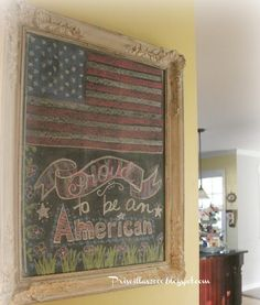 Priscillas: Red ,White and Blue on the Chalkboard