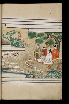 Japenese manuscript representing the Life of Buddha (Shaka no Honji). It's a Nara picture book. An old man lies on the ground. A sumptuous nature grows around him. Four characters richly dressed are looking at him.  #Japan #Manuscript #picturebook #buddha #trees #flowers #kimono