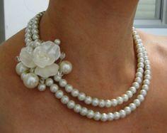 Boda collares perlas y cristal collar collar Vintage de la