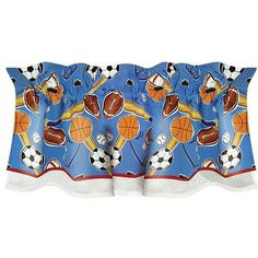 Let's Play Ball Window Valance, Multi (All Cotton, Graphic Print)