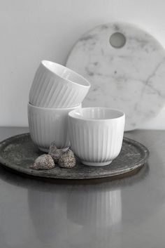 The Hammershøi tableware set is designed in collaboration with the designer Han. The Hammershøi tableware set is designed in collaboration with the designer Hans-Christian Bauer a Dining Area, Kitchen Dining, Latte Cups, Kitchenware, Tableware, Ceramic Bowls, Danish Design, Lassi, Simple Designs