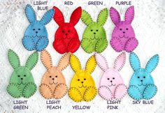 Easter decorations rabbits ornaments with loop felt ornaments, felt animals, felt rabbit, set of 5 pink yellow blue green peach red purple Felt is a very soft, pleasing and environmentally friendly material. Felt ornament look great in any room. This ornament will serve you for a long