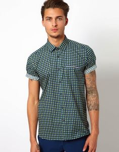 1ef87a835 Ted Baker Printed Shirt in Green for Men | Lyst Ted Baker Shirts, Online  Shopping