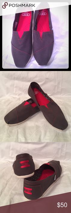 Toms for Audi flats! Limited edition Tom's classic for Audi in ash gray/red. New in box TOMS Shoes Flats & Loafers