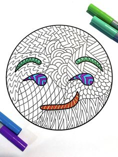 Smirk Emoji  PDF Zentangle Coloring Page