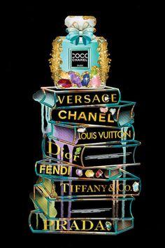 Gems Fashion Books and Perfume Canvas Art by Pomaikai Barron Chanel Wall Art, Chanel Decor, Chanel Art, Chanel Perfume, Chanel Canvas, Coco Chanel Wallpaper, Chanel Wallpapers, Versace Wallpaper, Canvas Art Prints