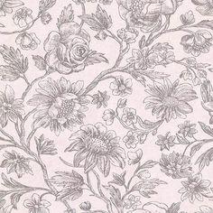 Kepler Light Pink Sketched Floral Wallpaper
