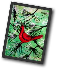 Print with cardboard. Pine Tree Cardinal, Art Lesson by Ingrid Hyde