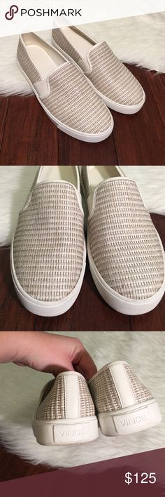 | Vince | Blair Woven Leather Slip On Sneaker In excellent condition! You would mistake for brand new! Only worn one time. Wear is only shown on the soles. Such a chia yet sporty looking shoe. Perfectly on trend! Vince Shoes Sneakers