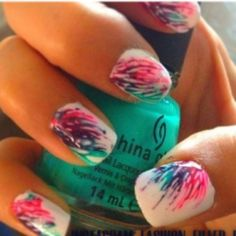 Super Easy and Cute Idea for your nails!  All you need is a base color and some different colors of thin tip nail polish.  Then you do little swooshes from the corner of your nails with the thin tips!