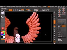 TriPartsWings Моделирование Декоративных Крыльев Zbrush - YouTube ok so it's in russian, BUT if you watch, he shows how he made spheres into feathers, those into a dynamesh clump, and that into an insert brush using a curve modifier to make wings... VERY COOL possibilities