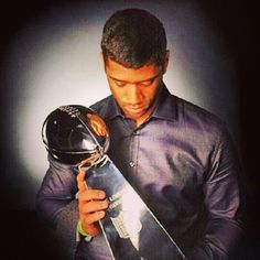 Russell Wilson with Vince Lombardi Trophy Super Bowl 48