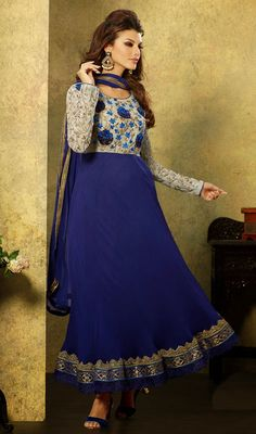 Buy Bansi Dark Blue Colored Semi Georgette Designer Dress Material online in best price at Wholesale Hungama. Embroidery work, Georgette, Santoon & Chiffon Fabric is used in this Bansi Dark Blue Colored Semi Georgette Designer Dress Material Latest Anarkali Suits, Latest Salwar Suit Designs, Latest Sarees, Salwar Suits, Designer Anarkali Dresses, Designer Dresses, Georgette Dresses, Long Anarkali, Sarees Online India