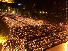 Candlelight procession at Lourdes, France.