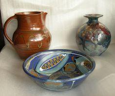 Winchcombe jug. Small vase by Tony Laverick. Bowl by Lea Phillips.