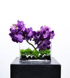 #Vanda #Orchids in a modern flat rectangular vase $130