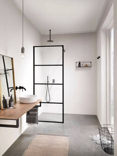 Let's Talk Vessel Sinks & Wall-Mount Faucets Moderne Boho Badezimmer Waschbecken Betonböden Modern Boho Bathroom, Scandinavian Bathroom, Minimalist Bathroom, Simple Bathroom, Minimalist Showers, Scandinavian Modern, Bathroom Vintage, Modern Sink, Bathroom Ideas