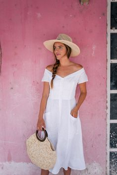 Gal Meets Glam Shopping in Tulum - Reformation dress, Kayu bag & Mapache by James hat