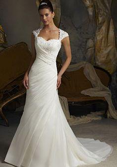 Mermaid/trumpet Satin Organza Square Natural Waist Court Train Button Back Cap sleeve Beading Wedding Dress