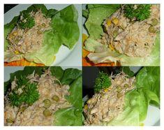 Maso opatrně obereme, může zůstat ve větších kouscích - mícháním salátu se rozpadnou. Přidáme zeleninu, hrášek, kdo chce, může i krájenou cibuli… Lettuce, Cabbage, Grains, Vegetables, Food, Essen, Cabbages, Vegetable Recipes, Meals