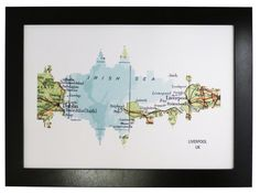 Liverpool City Skyline Print with vintage map by DragonTreeStudio, $12.00