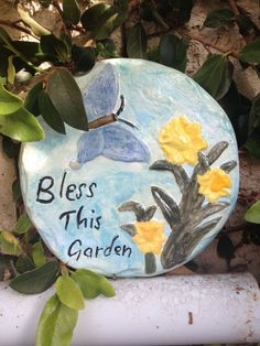 Handcrafted round blue cement dragonfly with flowers garden/yard art wall plaque #Handcrafted