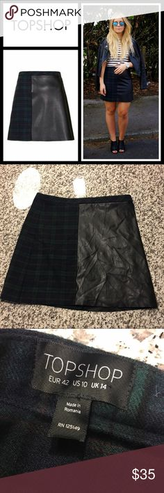 Topshop tartan & leather skirt 57% polyester 27% wool 13% viscose 3% elastane. EUC, no flaws - size 10! Topshop Skirts A-Line or Full