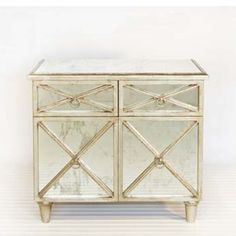 Two Drawer, Two Door Antique Mirror Cabinet With Silver Leaf by Worlds Away