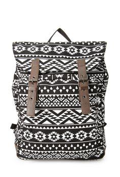 Buckled Tribal Print Backpack  e31f52567bc40