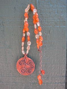 Citrine and Carnelian Necklace by AdornmentByNicole on Etsy, $65.00