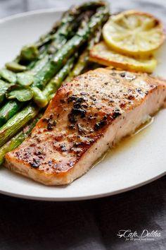 One Pan Lemon Garlic Baked Salmon + Asparagus | https://cafedelites.com