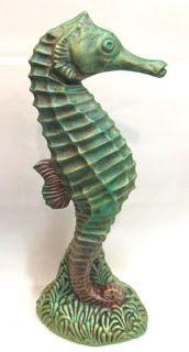 Ateliê Le Mimo: DECORAÇÃO MARÍTIMA E NÁUTICA  Cavalo-marinho de mesa - peça em gesso