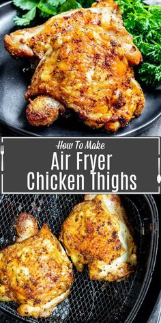 These easy Air Fryer Chicken Thighs are perfectly cooked, juicy chicken thighs that are 100% keto and a great dinner idea for busy weeknights. For this air fryer recipe you can you bone in skin on or skinless and boneless chicken thighs. It's a healthy recipe that tastes great and it is the BEST way to make chicken in the air fryer. #airfryer #airfryerrecipes #chicken #chickenrecipe Air Fryer Recipes Chicken Thighs, Fried Chicken Thigh Recipes, Air Fryer Recipes Keto, Cooking Fried Chicken, Air Fryer Fried Chicken, Bone In Chicken Recipes, Air Frier Recipes, Air Fryer Dinner Recipes, Air Fryer Chicken Wings