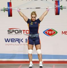 Lidia Valentin competing in the women's 75kg weightlifting competition at the World Weightlifting Championships