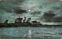 Gloucester Massachusetts 1907 Eastern Point Lighthouse Antique Vintage Postcard Gloucester Massachusetts MA 1907 Night view with full moon of Eastern Point Lighthouse. Used Metropolitan News Co. antiq