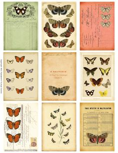 Free Weekly Printable: Butterfly Ephemera ATC's from Ephemera's Vintage Garden.