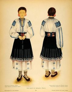 Items similar to Costume 1939 Romanian Peasant Woman Oltenia Print on Etsy Folk Embroidery, Learn Embroidery, Hand Embroidery Designs, Embroidery Patterns, Popular Costumes, Romanian Girls, Vogue, Medieval Clothing, Folk Costume