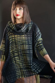 Open silk poncho, chartreuse and laura gray grid with a generous cowl neck.