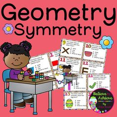 **Newly Revised! Geometry- Symmetry Task Cards This is a colorful set of 24 task cards where students determine the number of lines of symmetry for each letter or object. This set is a wonderful addition to your lessons! I've included a recording sheet and answer key, too!*********************************************************************These activities would work for grades 1-3!