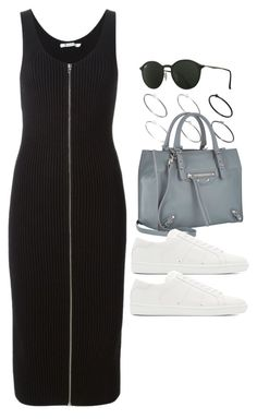 """""""Sin título #12426"""" by vany-alvarado ❤ liked on Polyvore featuring Just Acces, Balenciaga, T By Alexander Wang, Yves Saint Laurent and Ray-Ban"""