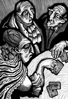 Walpurgisnacht a novel by Gustav Meyrink,  linocut illustrations by Vladimir Zimakov