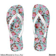 Sakura Blossom Flip Flops. An illustration of sakura flower or cherry blossom in a seamless pattern.