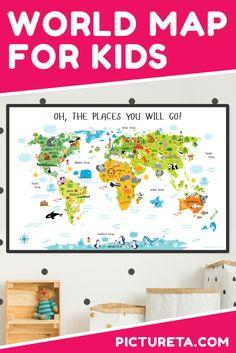 Printable World Map for Kids Printable World Map for Kids - Playroom Decor, Nursery Decor by Picture Geography For Kids, Maps For Kids, Playroom Decor, Kids Decor, Playroom Ideas, Playroom Organization, Decor Ideas, Nursery Wall Art, Nursery Decor