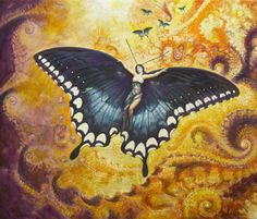 Anemonie of air if Icarus only had your soul and your unseen wings...poetry © Kathleen Cecilia...beautiful encounter with a friendly and curious black swallowtail, The Florida Series Anemonie of Air oil on linen, 2015 42 x 50 inches 107 x 130 cm