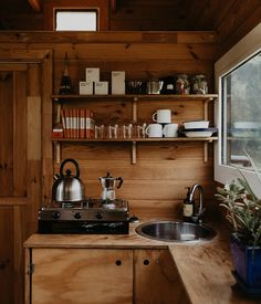Forest Bathing with Unyoked Forest Bathing, A Frame Cabin, Cabin Kitchens, Little Cabin, Cozy Cabin, Tiny House Design, Küchen Design, Tiny Living, Interior Styling