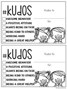 Kudos: Positive Notes for Students - school - Education First Grade Classroom, Classroom Community, Kindergarten Classroom, School Classroom, Classroom Activities, Classroom Ideas, Class Activities, Future Classroom, Classroom Behavior Management