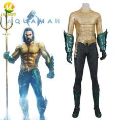 d1d0432da1d8 Aquaman Costume Movie Aquaman Cosplay Arthur Curry Costume Suit Gold  Jumpsuit Custom Made Full Set Halloween Party Bodysuits