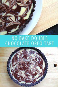 Rich and chocolatey No Bake Double Chocolate Oreo Tart!