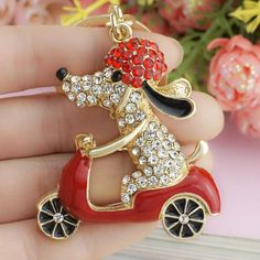 Lovely Dog Motorcycle Keychain