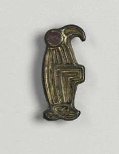 Frankish, Migration period, 6th century, bronze with traces of gilding and silver, and garnets, Overall - h:2.60 w:1.30 d:0.80 cm (h:1 w:1/2 d:5/16 inches). Gift of the John Huntington Art and Polytechnic Trust 1918.926